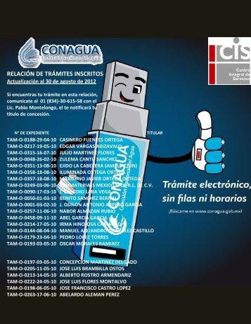 RELACIÓN DE TRÁMITES INSCRITOS - Conagua