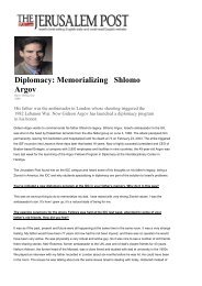 Diplomacy: Memorializing Shlomo Argov