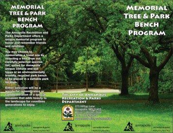 Memorial Tree & Park Bench Program - City of Annapolis