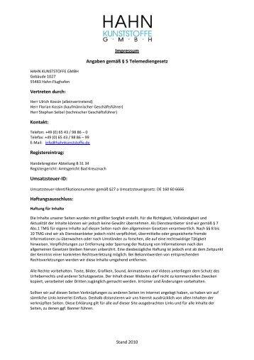 Impressum der Hahn Kunststoffe GmbH