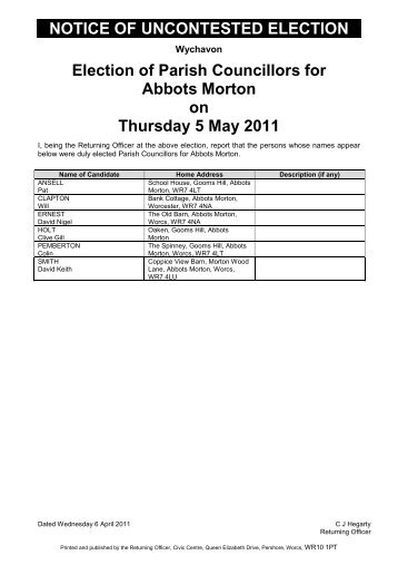 NOTICE OF UNCONTESTED ELECTION Election of Parish ...