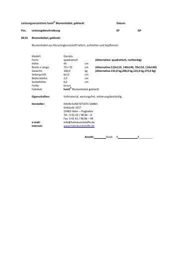 Blumenkübel Daniela - Hahn Kunststoffe GmbH