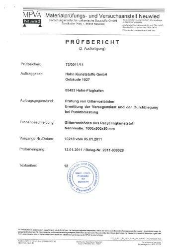 Belastungsversuche Gitterrostboden 1 - Hahn Kunststoffe GmbH