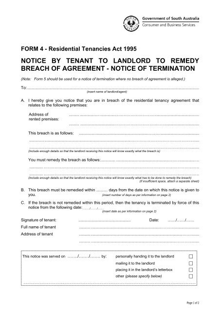 Notice To Landlord To Remedy Breach Of Agreement Sa