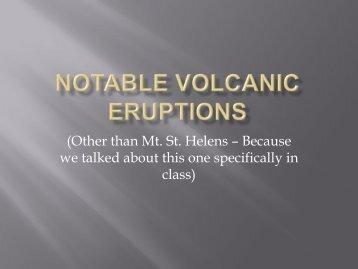 Notable Eruptions