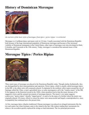History of Merengue - NYU Steinhardt School of Culture, Education ...