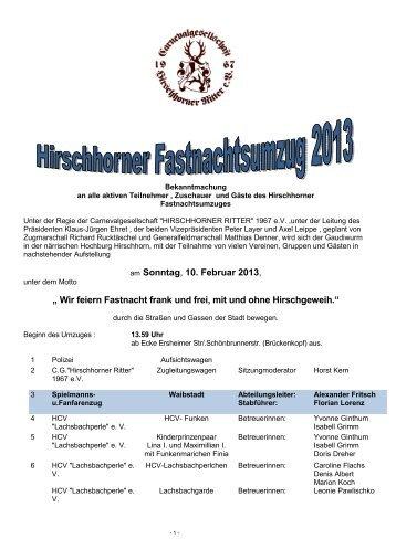 zugprogramm 2013 - Hirschhorner Ritter