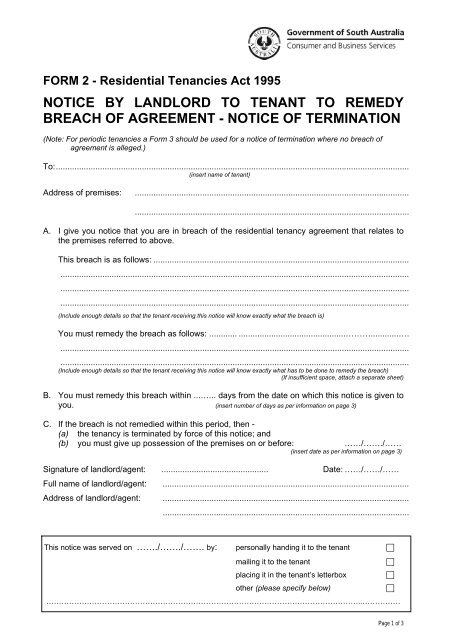 Notice To Tenant To Remedy Breach Of Agreement Sa
