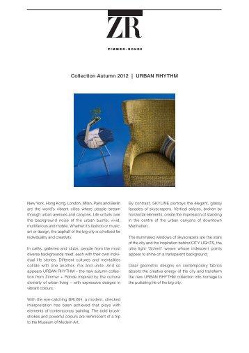 Collection Autumn 2012 | UrbAn rhythm - Zimmer + Rohde