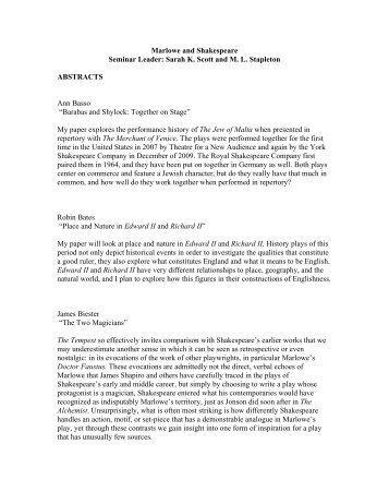 Marlowe and Shakespeare Seminar Leader: Sarah K. Scott and ...