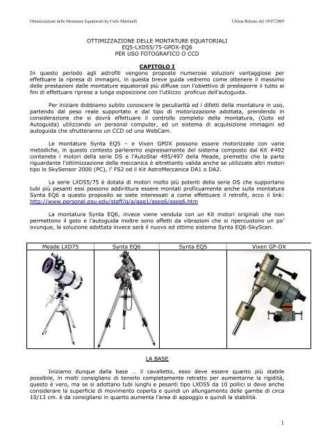 davvero comodo sconto codici promozionali ottimizzazione delle montature equatoriali - UAI - Sezione ...