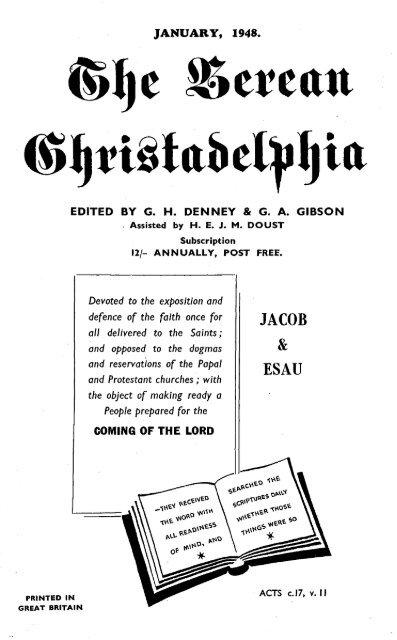 The Berean Christadelphian 1948 The Berean Ecclesial News