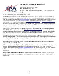 USA FENCING TOURNAMENT INFORMATION - United States ...