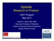Opioids Research To Practice - Boston University School of Medicine