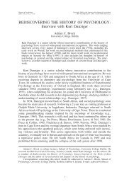 REDISCOVERING THE HISTORY OF ... - Kurt Danziger
