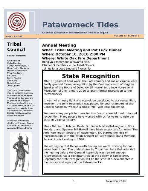 Patawomeck Tides 2010 - Patawomeck Indians of Virginia