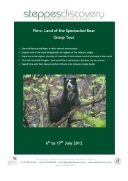 Peru: Land of the Spectacled Bear Group Tour 6 to 17 July 2012