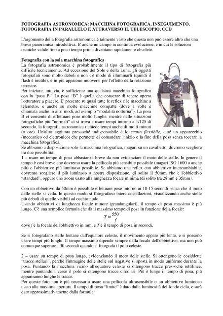FOTOGRAFIA ASTRONOMICA - Circolo Astrofili di Milano