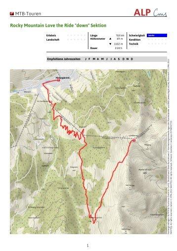 "MTB-Touren Rocky Mountain Love the Ride ""down"" Sektion"