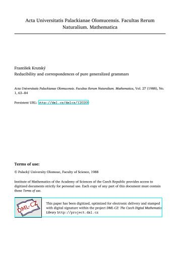 Reducibility and correspondences of pure generalized grammars