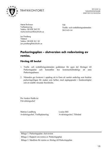 Parkeringsplan – slutversion och redovisning av remiss. - Insyn ...