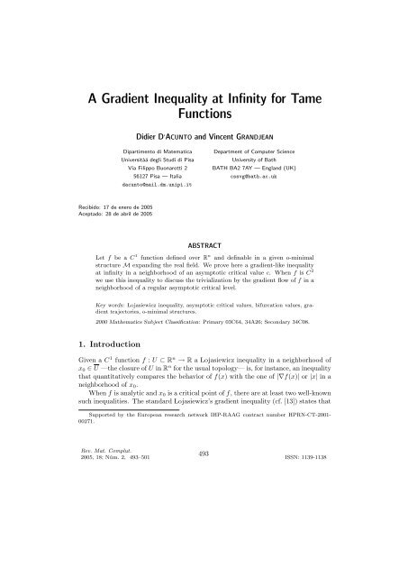 A Gradient Inequality at Infinity for Tame Functions
