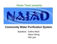 Community Water Purification System Green Team presents: - MIT