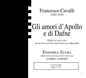 Gli amori d'Apollo e di Dafne - CD Baroque - K617