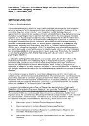 Bonn Declaration - Handicap International