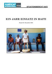 EIN JAHR EINSATZ IN HAITI - Handicap International