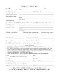 Insurance information form - University of Nevada, Las Vegas