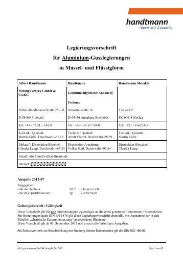 Legierungsvorschrift für Aluminium-Gusslegierungen in Massel- und ...