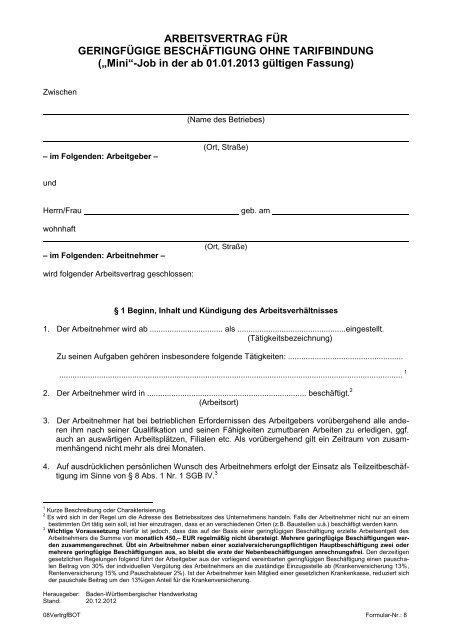 Arbeitsvertrag Für Geringfügige Beschäftigung Ohne Tarifbindung