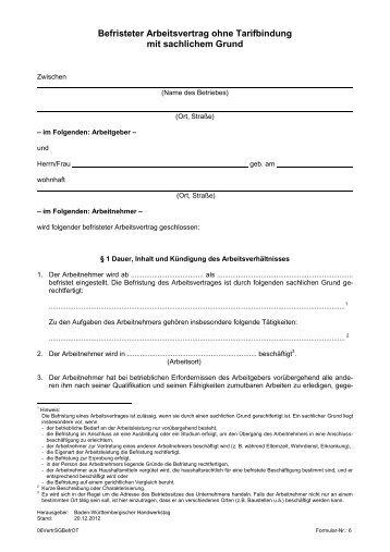 Arbeitsvertrag Für Arbeiter Und Angestellte Ohne Tarifbindung