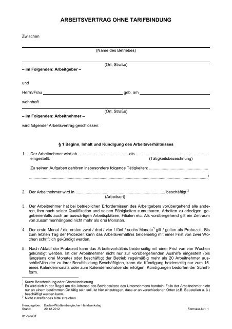 Arbeitsvertrag Ohne Tarifbindung