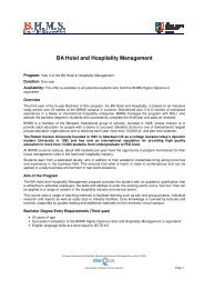 BA Hotel and Hospitality Management - BHMS