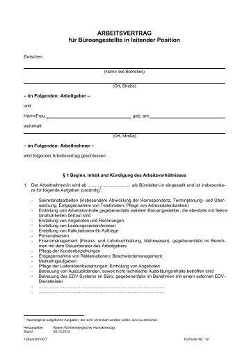 Arbeitsvertrag Für Gewerbliche Arbeitnehmer Des Verbandes