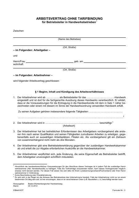 Arbeitsvertrag Ohne Tarifbindung Handwerkskammer Konstanz