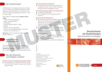 Umsatzsteuer bei Bauleistungen - handwerksblatt.de - Handwerk