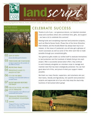 celebrate success - Grand Traverse Regional Land Conservancy