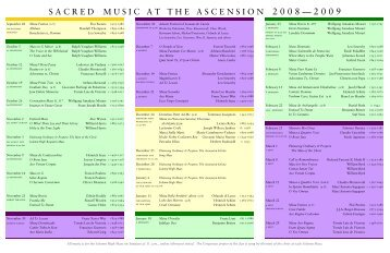 Music 2008 09 Brochure - Church of the Ascension