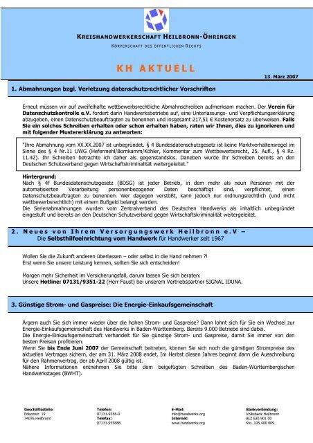KH AKTUELL - Kreishandwerkerschaft Heilbronn-Öhringen