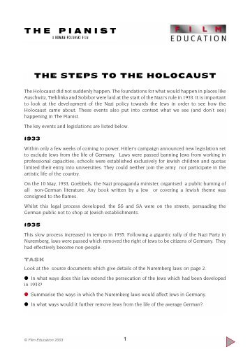 THE STEPS TO THE HOLOCAUST - Film Education