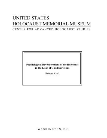 Psychological Reverberations of the Holocaust in the Lives of Child ...