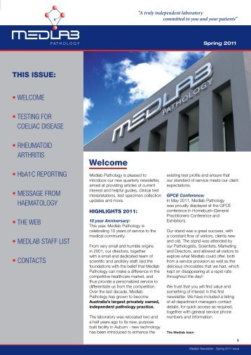 Medlab Pathology Newsletter – Spring 2011