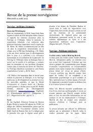 Revue de la presse norvégienne - Ambassade de France