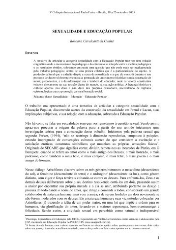 sexualidade com a Educação Popular - Centro Paulo Freire ...