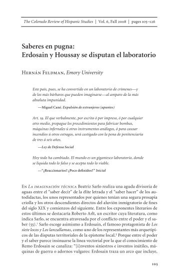 Saberes en pugna: Erdosain y Houssay se disputan el ... - Spanish