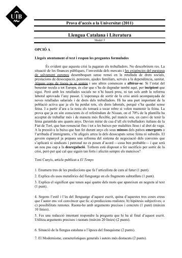 Llengua Catalana i Literatura - Examenes de Selectividad
