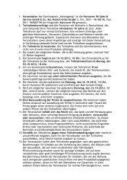 """1. Veranstalter des Gewinnspiels """"Helsingborg"""" ist die Hannover 96 ..."""